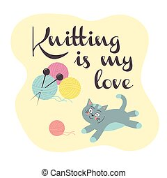 Cute cat with a knitting ball.