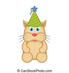 Cute cat with a party hat icon