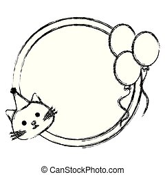 cute cat with balloons helium kawaii character