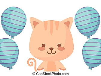 cute cat with balloons helium