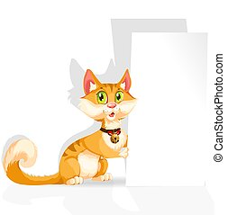 Cute cat with banner for text