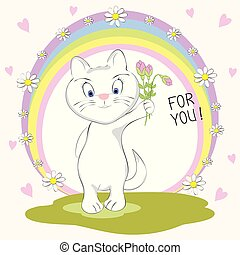 Cute  cat with bouquet of flowers and inscription For You.