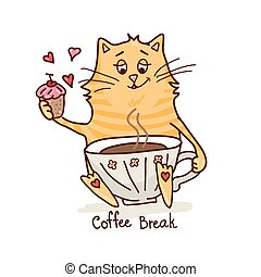cute cat with coffee 2