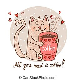 cute cat with coffee