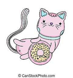 cute cat with donut
