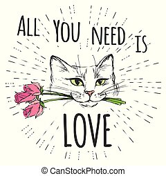 Cute Cat with flowers and All you need is love
