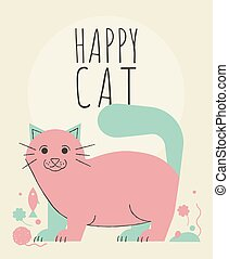Cute cat with flowers and plants greeting card