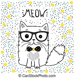 cute cat with glasses, T-shirt design for girls vector...