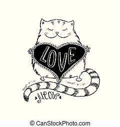 Cute cat with love heart , hand written lettering apparel...