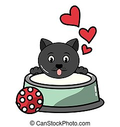 cute cat with milk bowl and ball toy