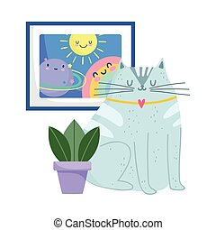 cute cat with plant and drawing rainbow decoration isolated design
