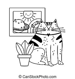 cute cat with plant and drawing rainbow decoration isolated icon line style