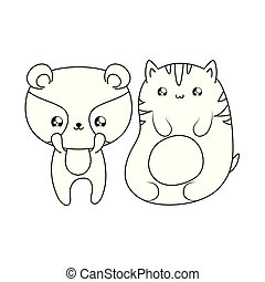 cute cat with raccoon baby animals kawaii style