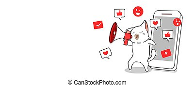 Cute cat with social media concept illustration