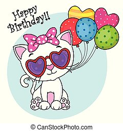 cute cat with sunglasses and balloons