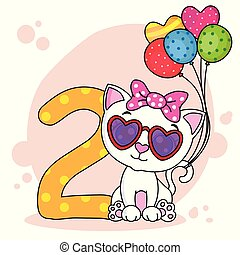 Cute cat with the number two.