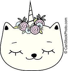 Cute cat with unicorn horn. Caticorn. Doodle, hand drawn...