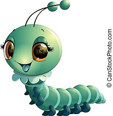 cute caterpillar cartoon - beautiful blue caterpillar on a...