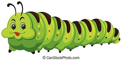 Cute caterpillar on white background