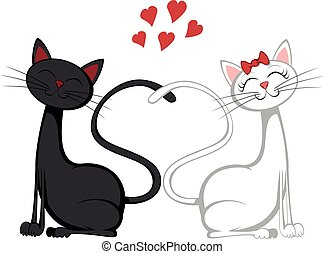 Cute cats - A black tomcat and a white pussycat is sitting...