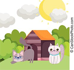 cats cartoon in the grass with house pets