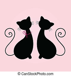 Cute Cats couple sitting together, Silhouette isolated on pink