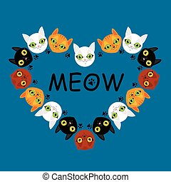 Cute cats faces colorful pattern background