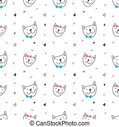 cute cats faces seamless pattern