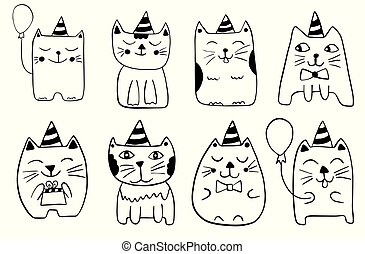 Cute cats. Hand drawn stylized characters. Outline doodle animals. Black and white vector illustration.