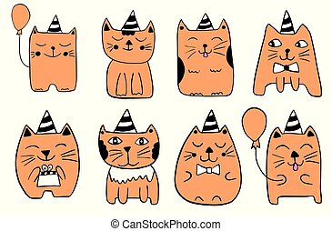 Cute cats. Hand drawn stylized characters. Outline doodle animals. Childish vector illustration.