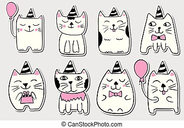 Cute cats. Hand drawn stylized set of stickers. Outline doodle animals. Cartoon characters. Vector illustration.