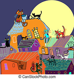 Cute Cats on the rooftops of the city at nights, cartoon drawing. Illustration for children, vector illustration.