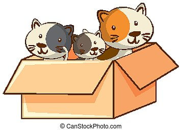 Cute cats on white background