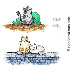 cute cats on white background. watercolor hand painting illustration.