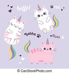 cute cats rainbow and horns adorable cartoon animal funny character