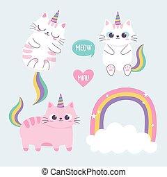cute cats rainbow horn cloud cartoon animal funny character