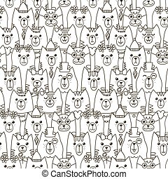 Cute cats seamless pattern. Black and white background