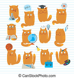 Vector conceptual illustration with clever cute cats studing various school subjects. Objects organized in groups. Background on separate layer.