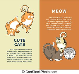 Cute cats that say meow promotional vertical posters....