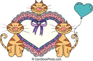 Cute cats with heart embroidered on tape lace