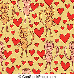 cute cats with hearts seamless pattern