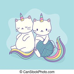 cute cats with rainbow tails and wool ball kawaii characters