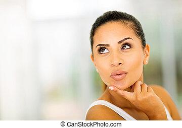 cute caucasian woman looking up