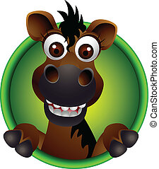 cute, cavalo, cabeça, caricatura