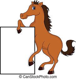 cute, cavalo, em branco, caricatura, sinal