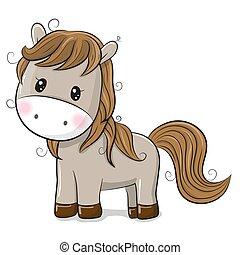 cute, cavalo, fundo branco, caricatura