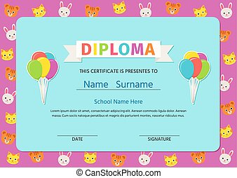 cute, certificado., illustration., vetorial, diploma, design., pré-escolar, criança