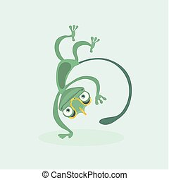 Cute chameleon. Vector illustration.