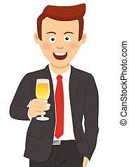 cute, champanhe, jovem, vidro, homem negócios, brindar