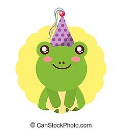 cute, chapéu aniversário, rã, partido